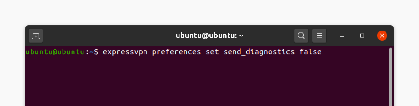 Run command to opt out of sending diagnostics.