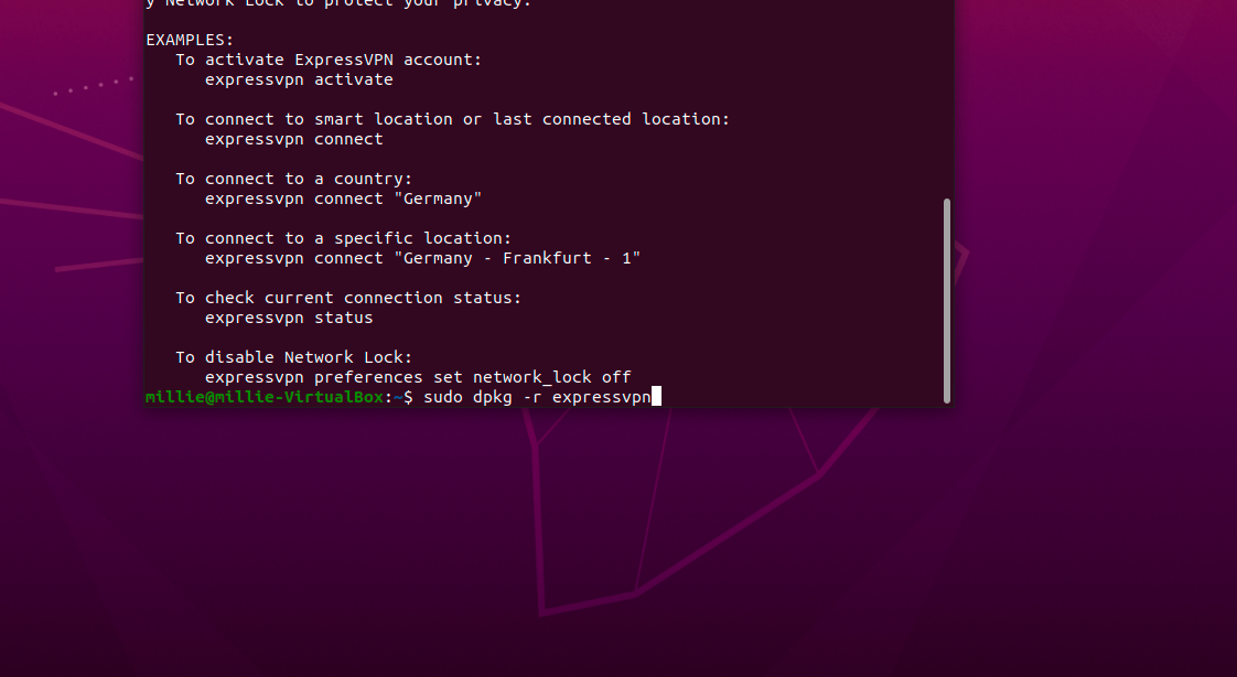 Run command to uninstall ExpressVPN.