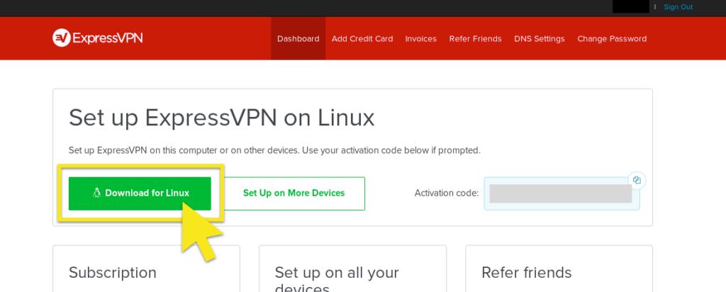 Schermata di installazione con il pulsante Download per Linux in evidenza.