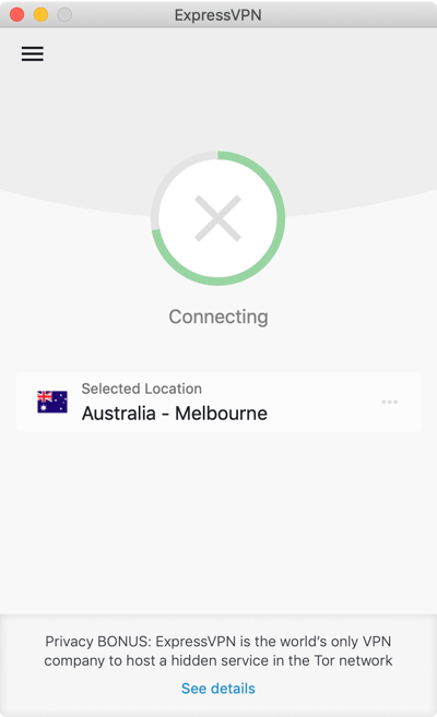 De ExpressVPN app zit vast terwijl deze bezig is met verbinding maken.