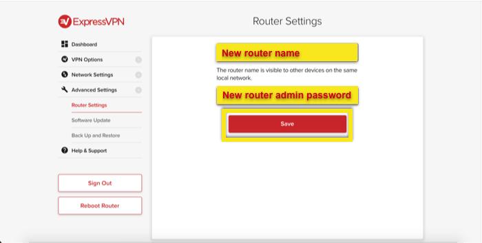 Configure the router admin details.