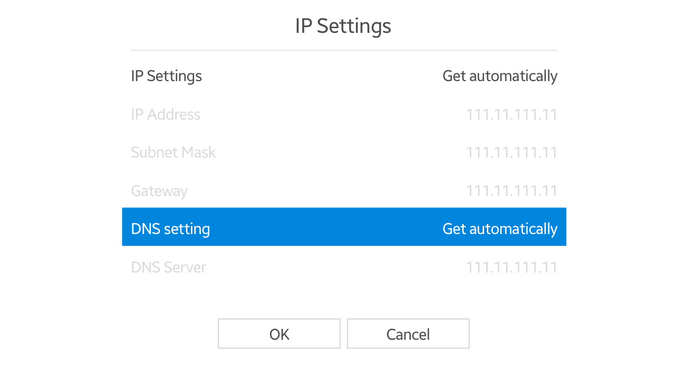 "Select ""DNS setting"" in IP Settings."
