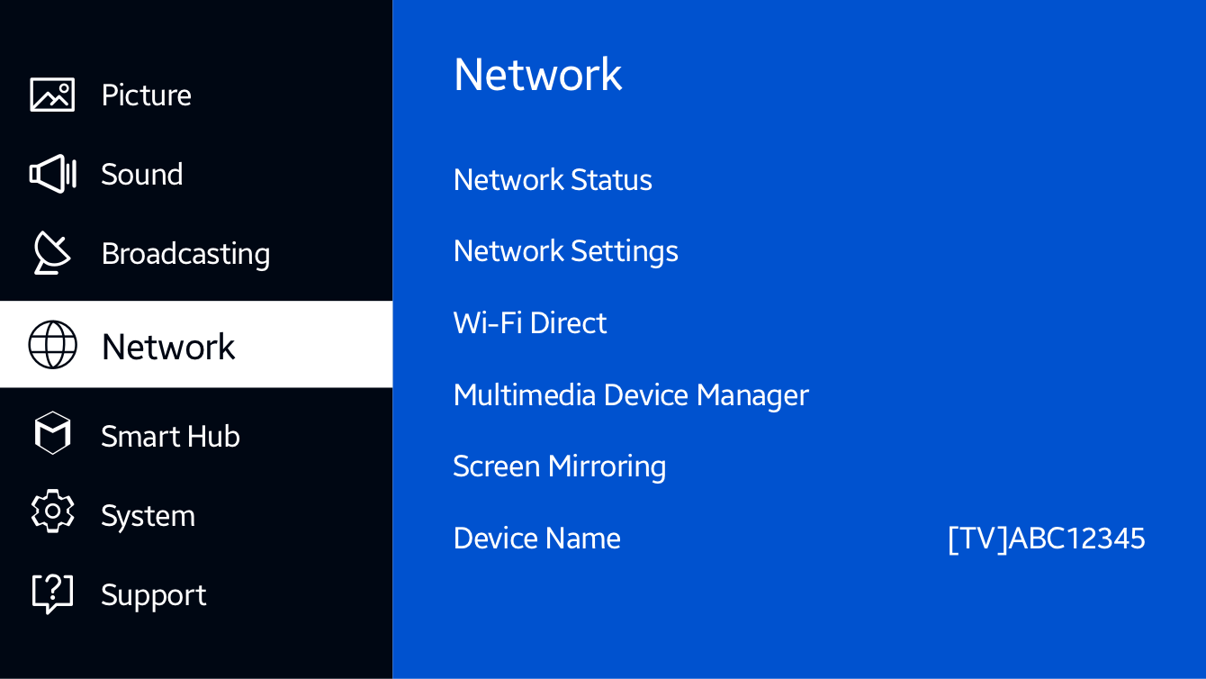 "Select ""Network"" on the TV's menu."