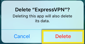 confirm delete expressvpn ios