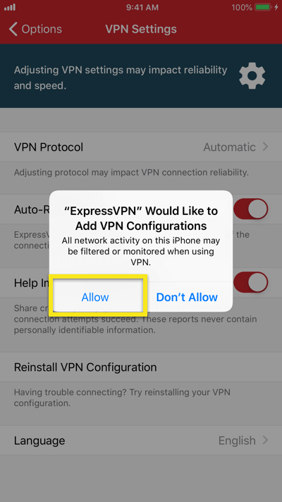 """Tap """"Allow"""" to add VPN configurations."""