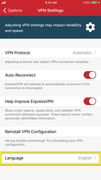 Change the language of the ExpressVPN iOS app.