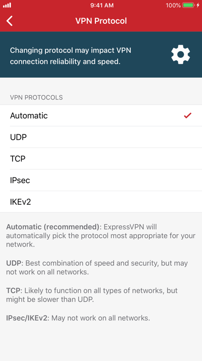 Select a VPN protocol to connect to.