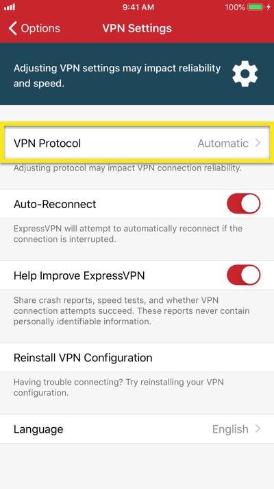 """Tap on """"VPN Protocol"""" in the ExpressVPN iOS app."""