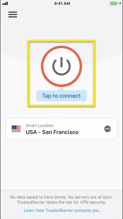 Trykk for å koble til VPN-et.