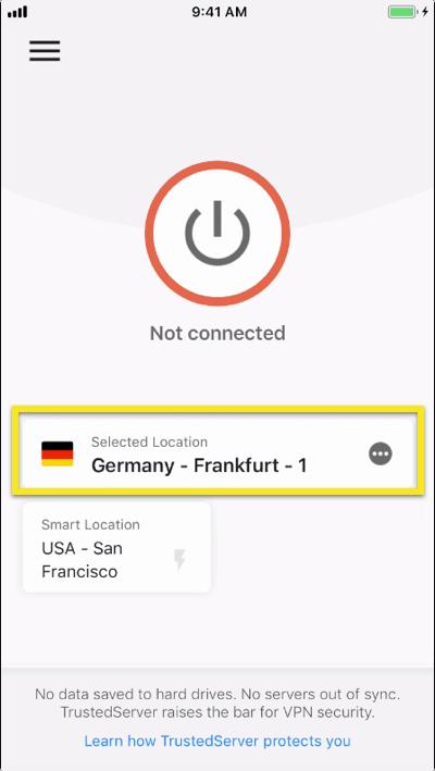 Trykk på lokasjonsvelgeren for å velge en VPN-lokasjon.