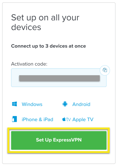 "iOS setup screen with ""Set Up ExpressVPN"" button highlighted"