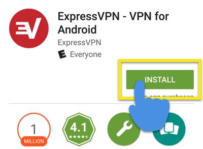 Google Play Butikk-skjerm med Installer-knapp framhevet.