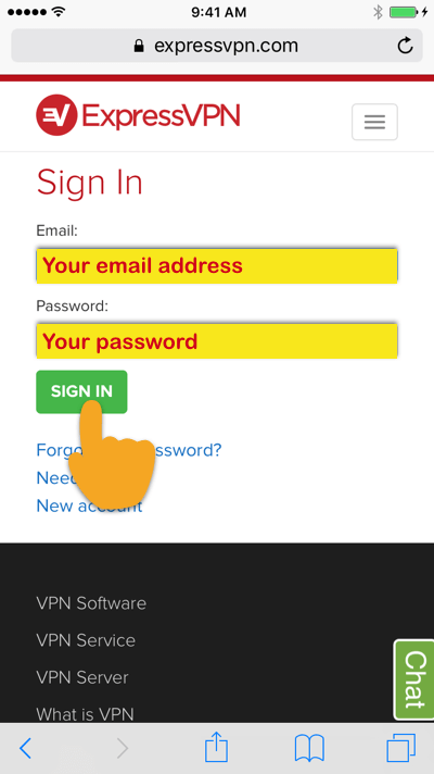 """ExpressVPN sign-in screen with """"Sign In"""" button highlighted"""