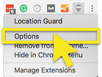 click extension options