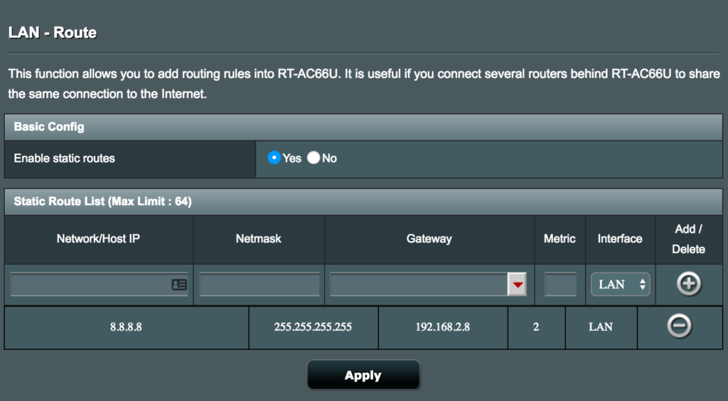 asus add routes