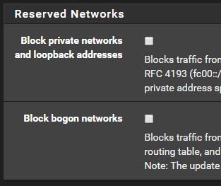 default reserved networks