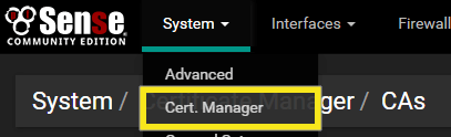 pfSense device screen with system cert manager highlighted.
