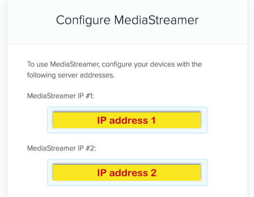 Mediastreamer-IP konfigurieren