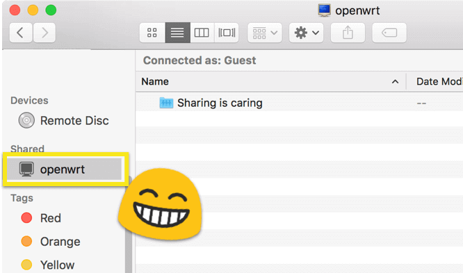 Shared OpenWRT USB drive appears