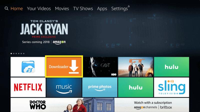 Tela da Amazon Fire TV com o botão Downloader em destaque.