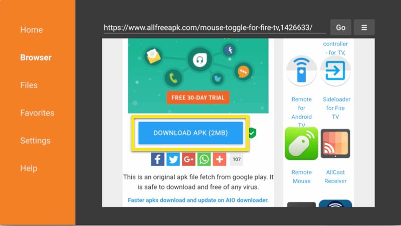 Guia do navegador com o botão Baixar APK realçado.