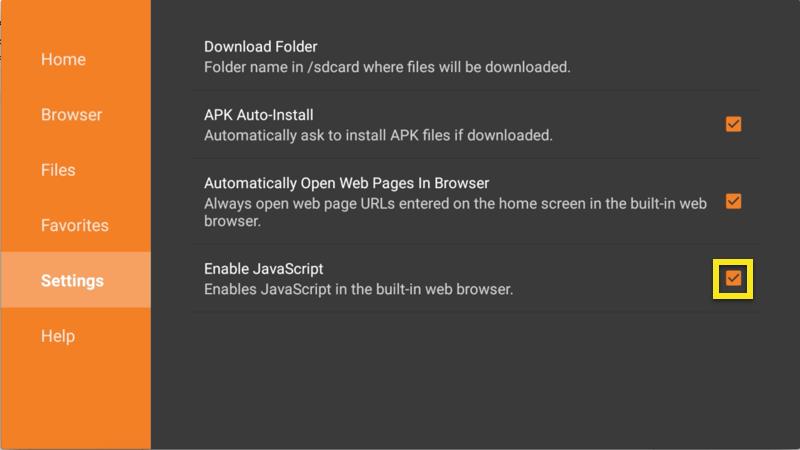 Tela de configurações do Downloader com caixa Ativar JavaScript realçada.