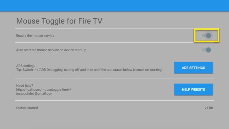 Tela Mouse Toggle com Ativar o controle deslizante do mouse definido como ativado.