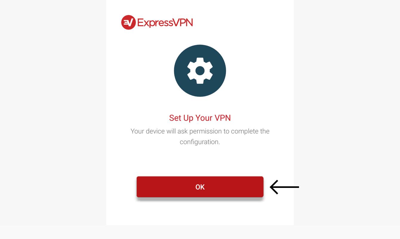 """Select """"OK"""" to set up ExpressVPN."""
