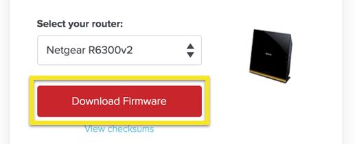 Page d'installation ExpressVPN avec le bouton Télécharger le firmware en surbrillance.