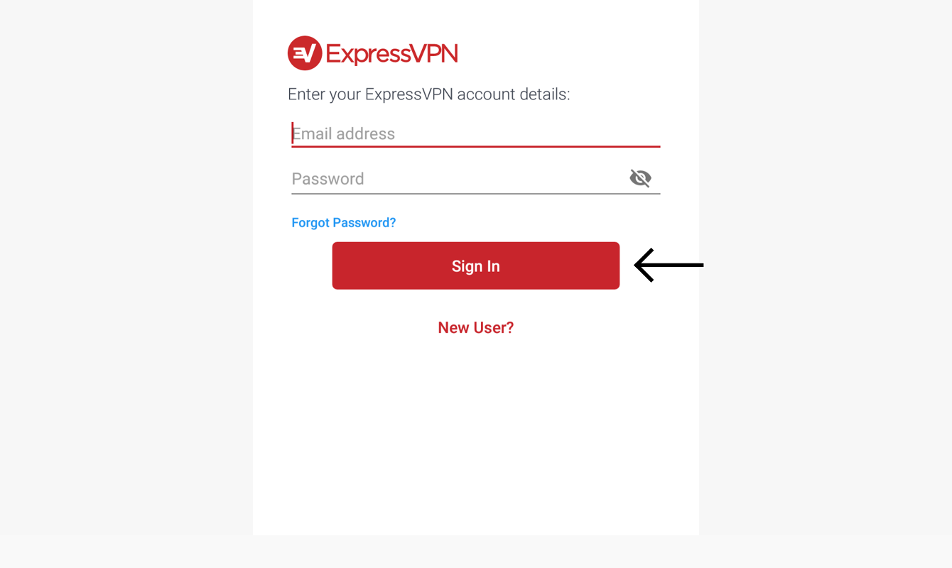 Sign in with your ExpressVPN email address and password.