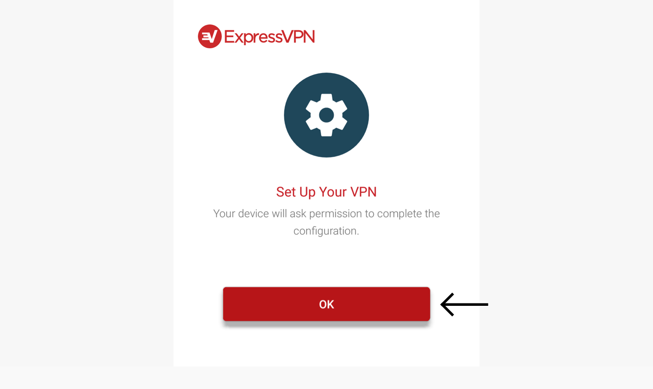 """Select """"OK"""" to set up your VPN."""