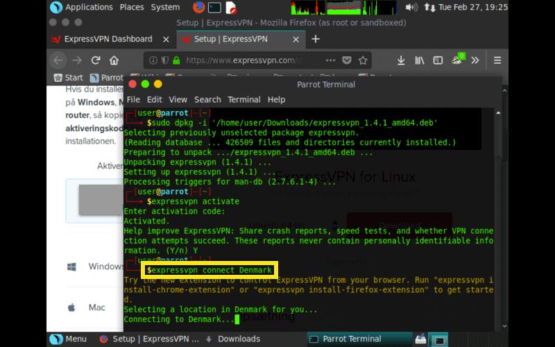 parrot expressvpn connect command