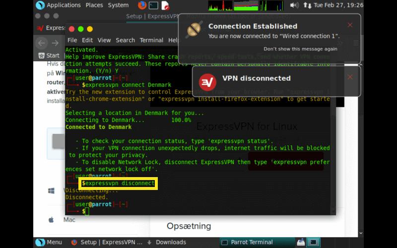 parrot expressvpn disconnect command