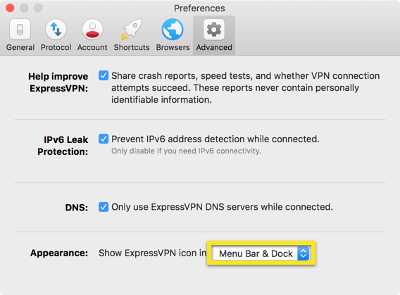ExpressVPN Preferences Advanced menu with Appearance dropdown highlighted.