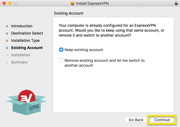 Existing Account screen with Continue button highlighted.