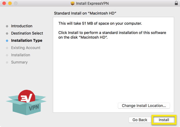 Installation Type screen with Install button highlighted.