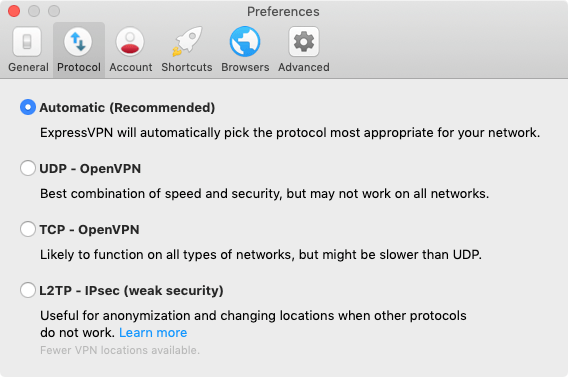 The select protocol screen for the ExpressVPN Mac app.