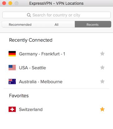 ExpressVPN locations menu showing Recent locations.