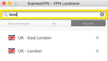 ExpressVPN locations menu with search bar highlighted.