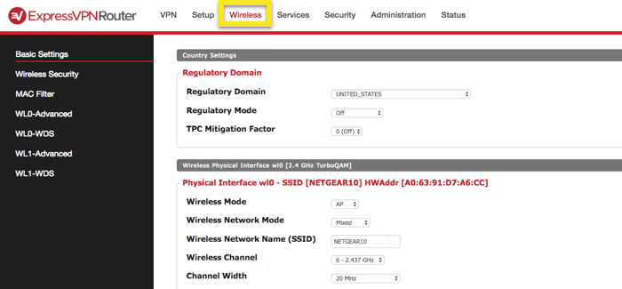 dd-wrt wireless basic settings