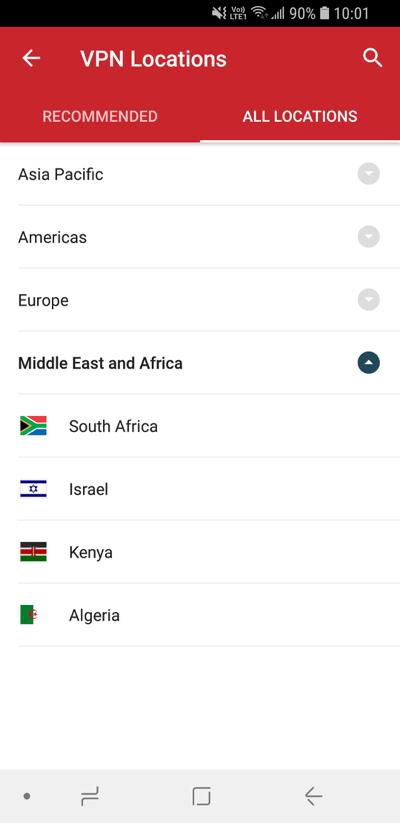 ExpressVPN-lokasjoner-skjerm viser Alle lokasjoner.