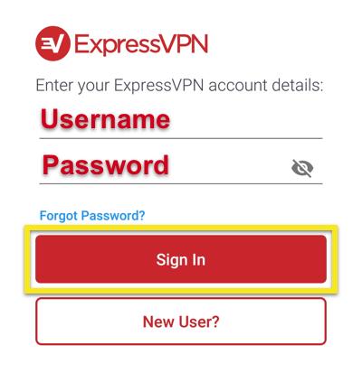 ExpressVPN innloggingsskjerm viser brukernavn og passord med Logg inn-knappen fremhevet.
