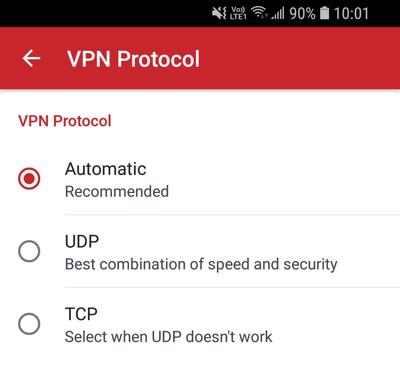 VPN-protokollmeny.