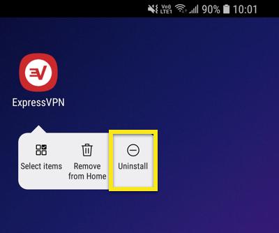 Tela inicial do Android com Desinstalar em destaque.
