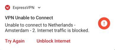 System notification indicating internet is blocked on Android.