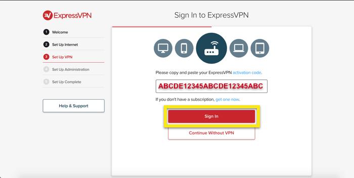 Tapez votre code d'activation ExpressVPN.