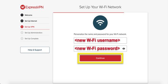 Définir le nom d'utilisateur et mot de passe Wi-Fi.