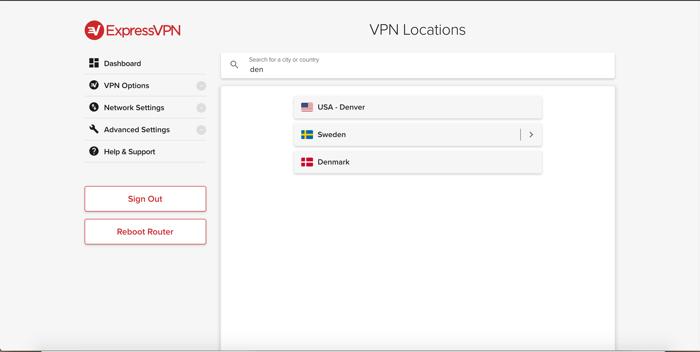 Rechercher des localisations dans l'appli ExpressVPN pour routeurs.