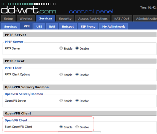 enable the openvpn client on your dd-wrt flashrouter
