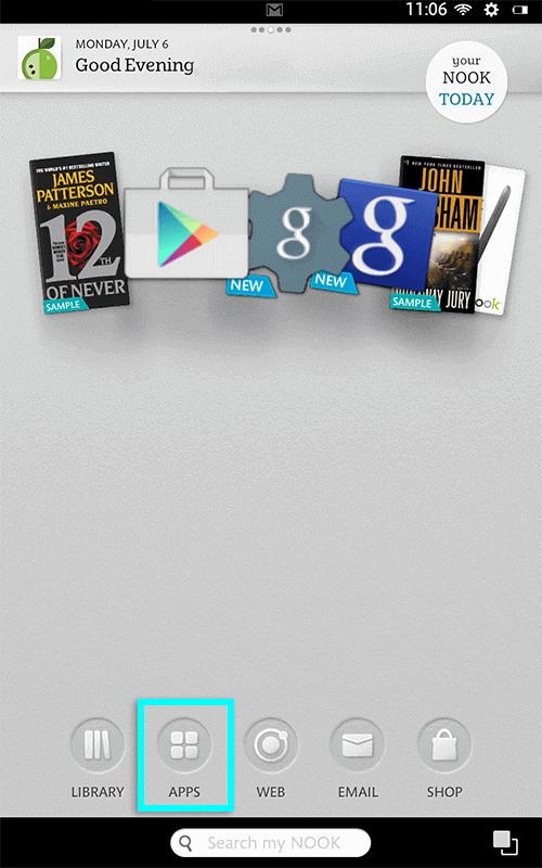 open apps on nook